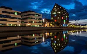 Fotos Deutschland Gebäude Fluss Nacht Straßenlaterne Kleve Städte