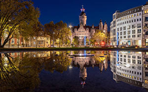Bilder Deutschland Haus Flusse Nacht Spiegelt Straßenlaterne Leipzig Städte