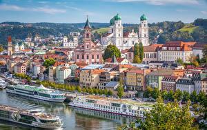 Fotos Deutschland Haus Fluss Seebrücke Binnenschiff Bayern Passau Städte