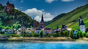 Hintergrundbilder Deutschland Berg Haus Flusse Burg HDRI Bacharach, Stahleck castle Städte
