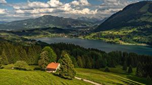 Fotos Deutschland Berg See Wälder Dorf Fichten