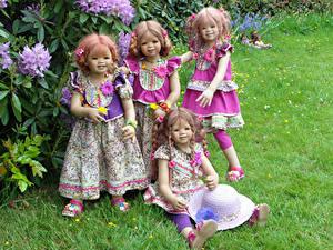 Pictures Parks Doll Little girls Frock Grass Hat Grugapark Essen Nature