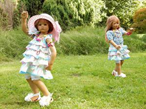 Fonds d'écran Parc Poupée Petites filles Les robes Chapeau Herbe Deux Grugapark Essen
