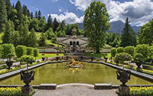 Picture Germany Parks Pond Sculptures Landscape design Palace Trees Linderhof Palace park Nature