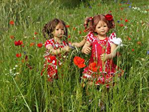 Fonds d'écran Parc Pavot Poupée Petites filles Deux 2 Grugapark Essen Nature