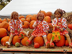 Fonds d'écran Parc Citrouille Automne Poupée Petites filles Les robes Grugapark Essen Nature
