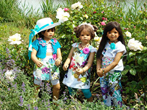 Wallpapers Parks Roses Doll Three 3 Little girls Hat Frock Grugapark Essen Nature