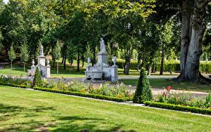 Bilder Deutschland Potsdam Park Skulpturen Bäume Rasen Park Sanssouci
