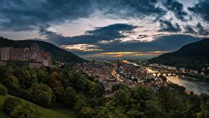 Fotos Deutschland Flusse Haus Brücken Abend Hügel Wolke Heidelberg