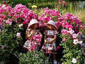 Image Roses Doll Little girls Two Dress Hat Bush Grugapark Essen Nature