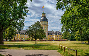 Images Germany Palace Lawn Trees Schloss Karlsruhe Cities