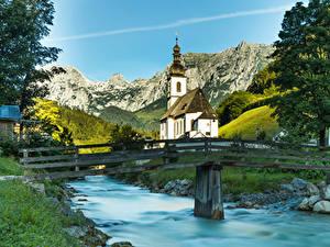 Bilder Deutschland Tempel Kirche Flusse Brücke Bayern Ramsau Städte