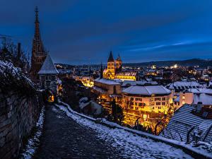 Fotos Deutschland Winter Gebäude Abend Nacht Esslingen Städte