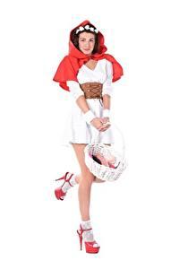 Fotos Uniform Rotkäppchen Weidenkorb Kapuze Hand Bein High Heels Gia Ren junge Frauen