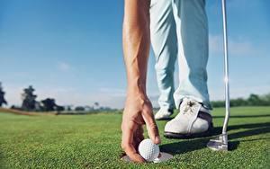 Bilder Golf Hautnah Hand Kugeln Rasen sportliches