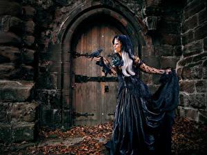 Fonds d'écran Gothique Fantasy Corvus corone Porte Les robes Fantasy