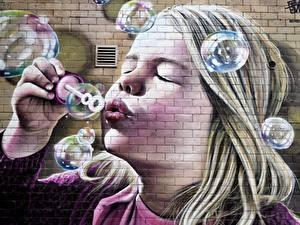 Hintergrundbilder Graffiti Seifenblasen Kleine Mädchen Gesicht Mauer Aus backsteinen Kinder