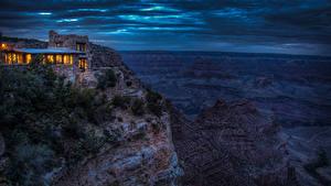 Bilder Grand Canyon Park Park Gebirge Gebäude Abend Felsen