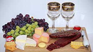 Bilder Weintraube Käse Wurst Kekse Messer Weinglas