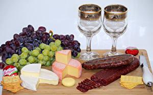 Photo Grapes Cheese Sausage Cookies Knife Stemware Food