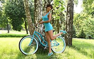Hintergrundbilder Gras Fahrräder Brünette Pose Kleid Hand Bein Birken junge Frauen