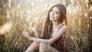 Bilder Gras Braunhaarige Sitzen Blick Lächeln Hand