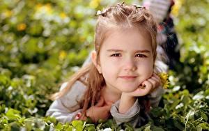 Fotos Gras Kleine Mädchen Blick Liegen