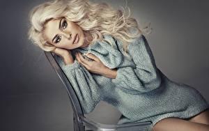 Bilder Grauer Hintergrund Blondine Sitzt Blick Hand Sweatshirt junge Frauen