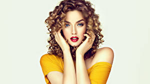 Pictures Curly Gray background Brown haired Glance Hands Red lips Hair Hairstyles Hairstyle Girls