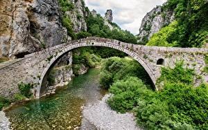 Wallpaper Greece Bridges Mountains River Arch Crag mountain area of Ioannina Nature