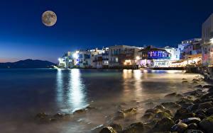 Bilder Griechenland Küste Gebäude Nacht Mond Bucht Mykonos island Städte