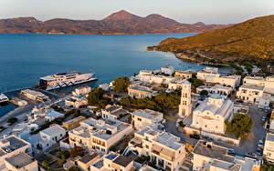 Bilder Griechenland Gebäude Schiffsanleger Bucht Von oben Adamas, Milos Städte