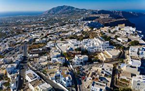 Hintergrundbilder Griechenland Haus Straße Von oben Thira, South Aegean