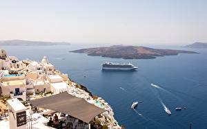 Bilder Griechenland Insel Meer Kreuzfahrtschiff Von oben Santorini, Aegean sea