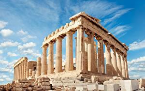 Bilder Griechenland Ruinen Himmel Hügel Wolke Säulen Acropolis, Parthenon, Athens Städte