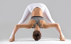 Fotos Gymnastik Fitness Braunhaarige Pose Rücken Hand Bein junge frau
