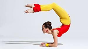 Hintergrundbilder Gymnastik Grauer Hintergrund Braune Haare Posiert Bein