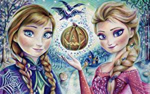 壁纸、、ハロウィン、アナと雪の女王、絵画、三つ編み、2 二つ、アート、Elsa Snow Queen Anna、、少女