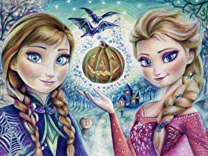 Hintergrundbilder Halloween Die Eiskönigin – Völlig unverfroren Malerei Zopf 2 Fan ART Elsa Snow Queen Anna Mädchens