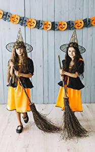 Desktop wallpapers Halloween Little girls 2 Hat Uniform Staring Children