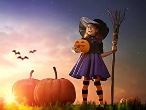 Hintergrundbilder Halloween Kürbisse Kleine Mädchen Der Hut Nacht Rock kind