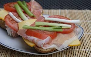 Bilder Schinken Käse Tomate Geschnitten Teller Frühstück