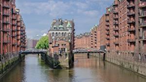 Fotos Hamburg Deutschland Gebäude Brücke Kanal Speicherstadt, Elba