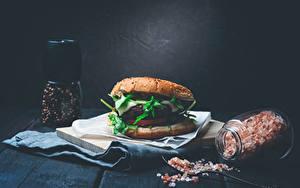 Wallpaper Hamburger Black pepper Wood planks Jar Salt Food