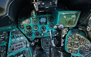 Pictures Helicopters Cockpit Russian Mi-24 B Aviation