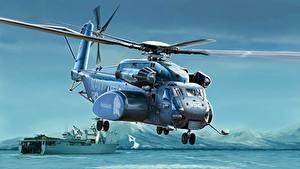 Fotos Hubschrauber Gezeichnet Amerikanischer US Navy MH-53E Sea Dragon