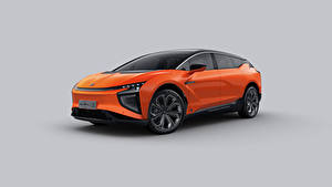 Bilder Crossover Orange Metallisch Chinesisch Grauer Hintergrund HiPhi X, 2020 auto