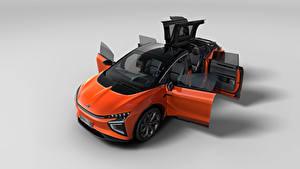 Hintergrundbilder Softroader Orange Metallisch Chinesisch Offene Tür Von oben Grauer Hintergrund HiPhi X, 2020 automobil