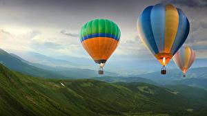 Bilder Hügel Flug Fesselballon Natur