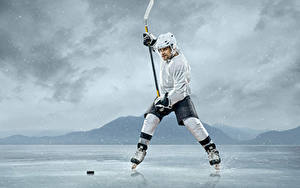 Picture Hockey Men Uniform Ice Helmet Sport